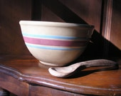 Yellowware Mixing Bowl #8 with Pink and Blue Stripes
