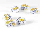 Fabric Buttons - Provence Roses - 6 Small White, Yellow and Blue Floral Fabric Covered Buttons, Handmade Fabric Button, Sewing Knitting