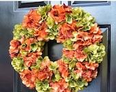 FALL WREATH SALE Reserved Fall Wreath Custom Fall Wreaths Monogram Hydrangea Wreath Fall Monogram Wreath, Orange Hydrangea Wreath, Fall Deco