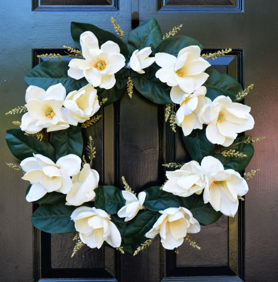 Limited Edition Magnolia Wreath- Year Round Magnolia Leaf Wreath- Front Door Wreath- Southern Magnolia Leaf Wreaths- Magnolia Flower Wedding