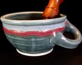 Shaving Lather Mug -Wet Shaving Mug -Lather Bowl -Pottery Shaving Mug -Shave Mug -Shave Bowl -Blue Shaving Mug - Blue Shaving Bowl -InStock
