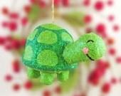 Turtle Christmas Ornament, Glitter Turtle Ornament, Turtle Decoration, Handmade Christmas Ornament, Woodland Christmas