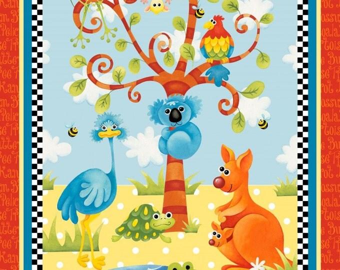 Aussie Mates Kangaroo and Aussie Animals Panel 24 x 44 inch cotton children's fabric