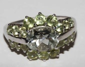 Montezuma Prasiolite and peridot ring set in sterling silver with platinum overlay size 8 shipping included U.S.A and Canada