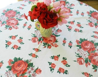 Rose Tablecloth, Red Rose Tablecloth, Vintage Cottage Tablecloth, Retro Tablecloth, Floral Tablecloth
