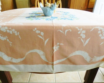 NOS Peach Tablecloth, Vintage Tablecloth, Lily of the Valley, Never Used Tablecloth, Original Tag Tablecloth, Blue Tablecloth