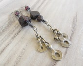 Long Raw Garnet Earrings, Rustic Tribal Dangles, Dark, Asymmetrical Earrings