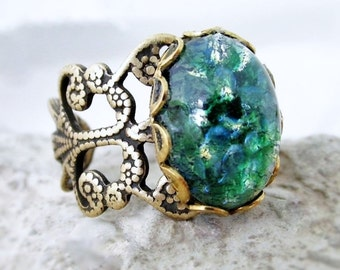 Opal Ring, Green Ring, Large Green Stone Rings, Adjustable Rings, Green Pinfire Glass Opal Rings, Statement Rings, Green And Blue Rings