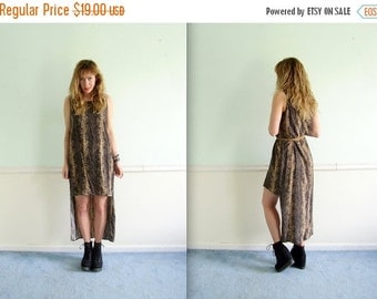 extra 30% off SALE ... 90s Snake Printed Sleeveless Hi Low Hem Maxi Dress - Vintage - Small S Medium M
