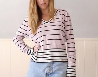 30% off ... 90s Pink and Black Striped ELOISE V Neck Knit Pullover Sweater Top - MEDIUM M