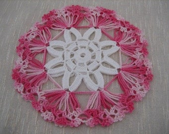 Hand crochet, fabulous  coaster doilies, set of 2, pinks , new, ready to mail