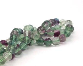 Fluorite 8 mm Gemstone Round Beads 15.5 inches Full Strand T007