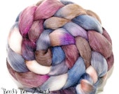 SNAPSHOT - Sparkly Violet Angelina, Tussah Silk and Merino Roving Hand Dyed Wool, Combed Top Roving 4 oz