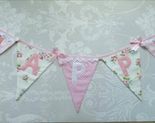 PRETTY PINKS Happy Birthday Fabric Bunting Banner shabby chic florals and roses party decor celebration Custom Made to Order Personalized