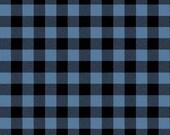 gingham fabric 100% cotton dusty blue + black plaid | gingham BTY buffalo check cotton fabric | checkerboard plaid shirts | camping outdoors