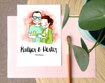 Customized Wedding Invite Illustration (a5 or a6 print-ready PDF)