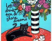 Tea & Dreams - Cat with Tea Cups and Flowers Art print 8.5 x 11
