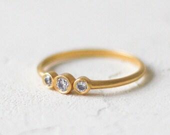 14k Gold Round Three Stone Ring, Thin Diamond Wedding Ring, Wedding Band, Thin Diamond Band, Simple Wedding Ring, Engagement Ring