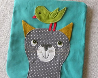 doted Cat and green Birdie  POUCH