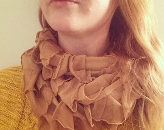 SALE - Ruffled Infinity Scarf - large long soft ruffle scarf or cowl - Mustard and other colors ready to ship - 2 to 3 loop