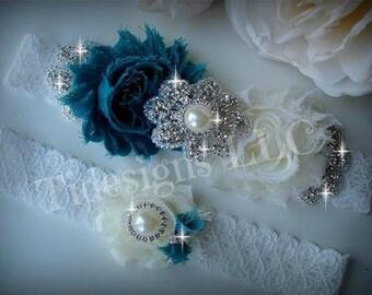 Wedding Garter Set, Bridal Garter, Ivory Garter, Rhinestone garter,Vintage Inspired Garter Set, Teal Garter Set