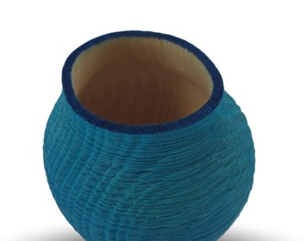 A Little Blue - Dyed Sycamore Wood Vessel
