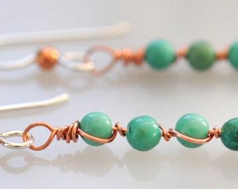 Little Turquoise Bead Earrings