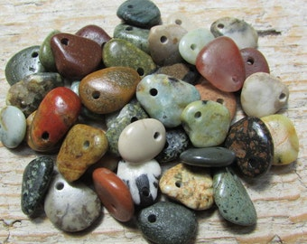 Small COLORFUL Natural  Beach Stone CHARMS Beads Stone Dangles Stone Supply