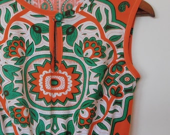 block print in orange and green...vintage fabric dress with side seam pockets