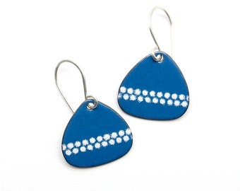 Blue Drop Earrings - Blue Earrings with White Polka Dots - Blue Enamel Earrings - Modern Enamel Jewelry / Handmade in Latvia