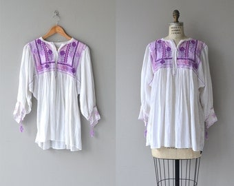 Saharara tunic | vintage 1970s gauze blouse | embroidered 70s peasant blouse