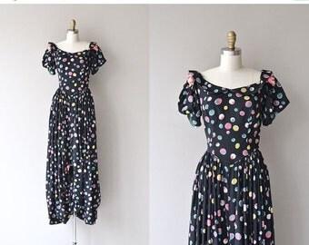 25% OFF SALE Tiny Bubbles dress   vintage 1930s dress • long polka dot 30s dress
