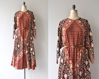 Adini indian cotton caftan   1970s indian dress   vintage 70s block print caftan