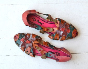 Que Colores modern huaraches | vintage 1980s sandals | woven leather 80s sandals