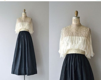 25% OFF.... Alfred Bosand gown   vintage 1970s dress   beaded silk 70s dress