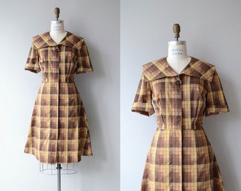 Painter's Chart dress | vintage 1950s dress | plaid cotton 50s dress