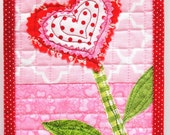 "Valentine's Day wall art quilt- ""BE MINE"" single stem heart bloom in pink, red and green- Ready to ship- Ships free to USA"