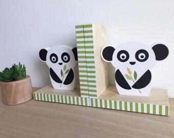 Panda Bear Bookends, Black and White Decor, Nursery Decor, Kids Decor, You choose COLOR, eco friendly