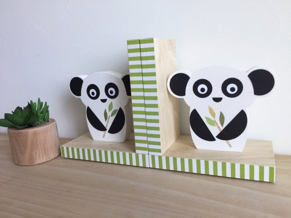Panda bear bookends black and white decor by mapleshadekids for Panda bear decor
