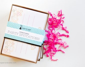 SHOP THE SHELF Gemstones Fill-in style Invitations (Set of 12)  >> shipped to you << Paper and Cake
