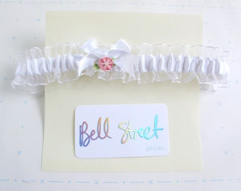 Handmade white ribbon wedding garter with vintage pink and green flower