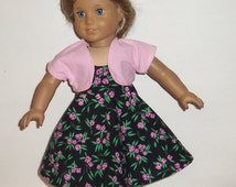 Modern Doll Dress, Black with Roses, Pink Shrug, Bolero, Cotton Party, Special Occasion, 18 Inch Doll, American Made, Girl Doll Clothes
