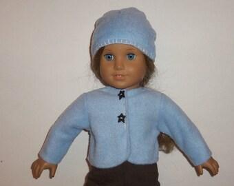 Fleece Jacket, Bolero Blue, Matching Hat, Accessories, Winter Fall Wardrobe, 18 Inch Doll, American Made, Girl Doll Clothes