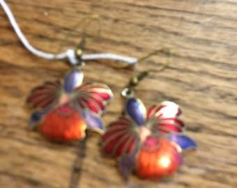 Multi color leaf earrings used