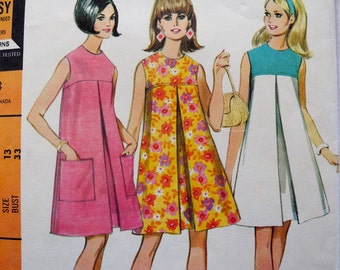 Vintage McCall's 8755 sewing pattern, 1960s Misses' and junior dress, easy to sew, beginners, bust 33