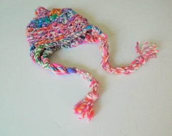 Handspun Hat Handdyed 0 2 3  months Bulky Wool Earflap Pink Girl Newborn Merino Chunky Baby