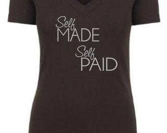 Self Made Self Paid Custom Black V Neck T shirt