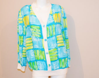 Vintage  Palm Beach Cardigan Color Block