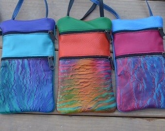 "Handmade Handcrafted Leather Pouch, embossed air brushed. Zipper Tote, 9""x 5.5""  Adjustable Strap"