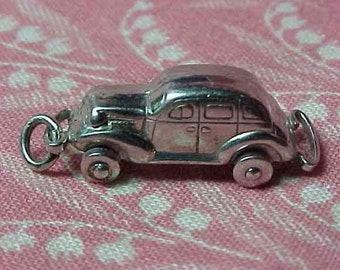 Vintage 3D Sterling Classic Car Charm with moving tires